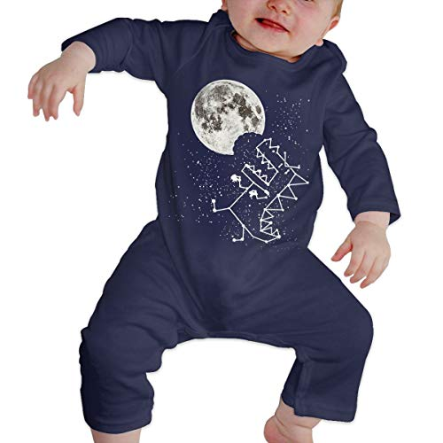 (Love Taste Dinosaur Unisex Baby Boy Girl Organic Cotton Bodysuits Long-Sleeve Onesies, Navy)