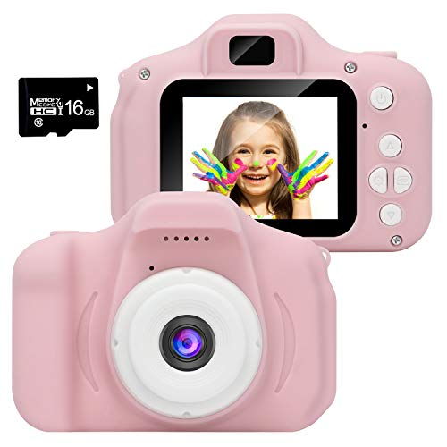 WABOLIN Kids Digital Video Camera for Girls Age 3-8 , Mini Pink Rechargeable Children Camera Shockproof 8MP HD Toddler Cameras Child Camcorder (16GB Memory Card Included)