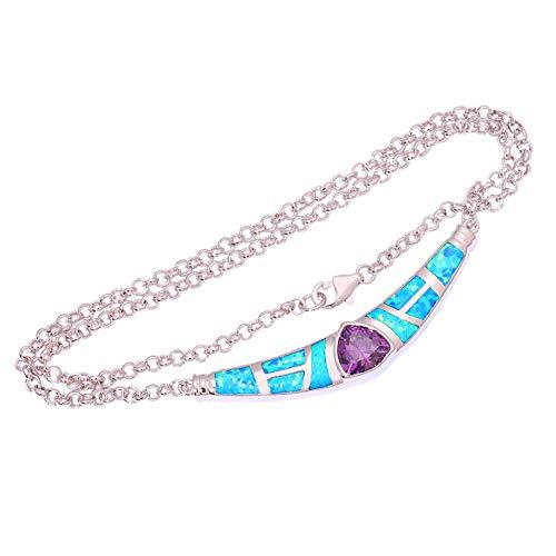 Blue Fire Opal Amethyst Silver Women Jewelry Gems Necklace Pendant 16 1/2 OL46
