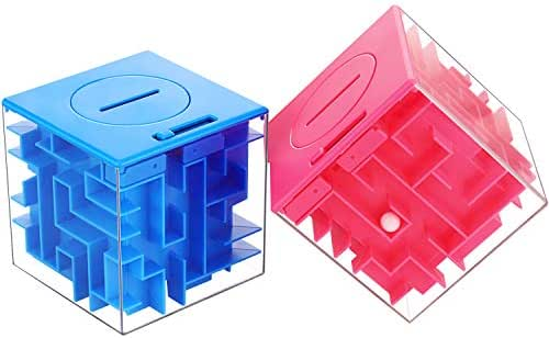 2 Pieces Money Holder Maze Puzzle Box, Fun Brain Teasers and Money Holder Puzzle Suits for Teens and People You Love (Pink and Deep Blue)