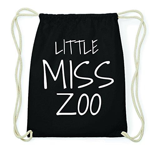 JOllify ZOO Hipster Turnbeutel Tasche Rucksack aus Baumwolle - Farbe: schwarz Design: Little Miss cjVyj