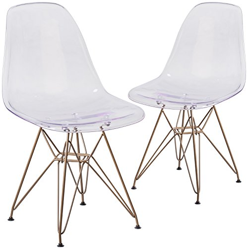 Flash Furniture 2 Pk. Elon Series Ghost Chair with Gold Metal Base by Flash Furniture