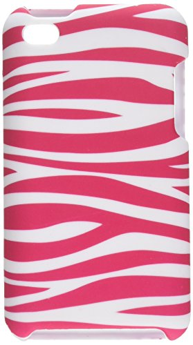 (Eagle Cell PIIPODTO4R129 Stylish Hard Snap-On Protective Case for iPod Touch 4 - Retail Packaging - Zebra Pink/White)