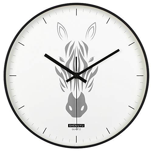 Zebra Wall Metal (EMIROOM Modern Decorative Wall Clock, 12 inch Silent Non-Ticking Quartz Metal Wall Clock, Battery Operated, Animal Art Decor for Bedroom, Living Room, Kitchen, School and Office (Zebra Clock))