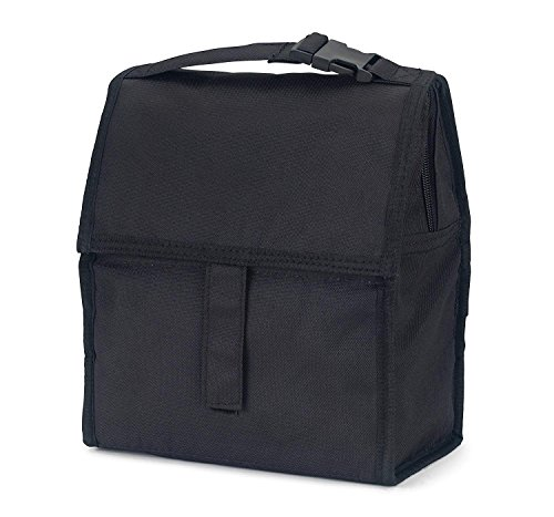 FlowFly Insulated Lunch Box Collapsible Compact Lunch bag Tote For Kids, Boys, Girls, Women, Men With Front Pocket and Hand Carrier (Black) ()