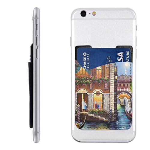 Card Holder for Back of Phone -Art Style Venice Building River Silicone Stick On Cell Phone Wallet with Pocket for Credit Card, ID, Business Card