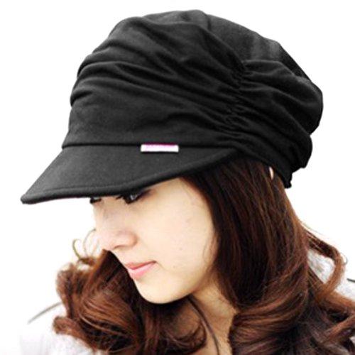LOCOMO Hats Women Girl Fashion Design Drape Layers Beanie Rib Hat Brim Visor Cap Black (Black) -