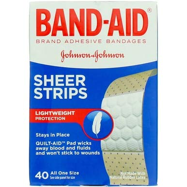 BAND-AID Sheer Strips Adhesive Bandages, All One Size 40 ea ( Pack of 5) - Strips Band Sheer Aid