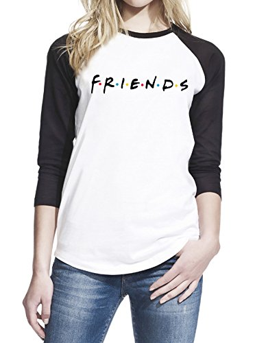 Friends TV Show Series Teen Women Baseball T-Shirt Small White/Black