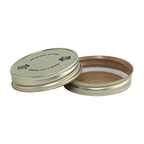 North Mountain Supply Regular Mouth Metal One Piece Mason Jar Safety Button Lids - Pack of 72 - Gold with Warning