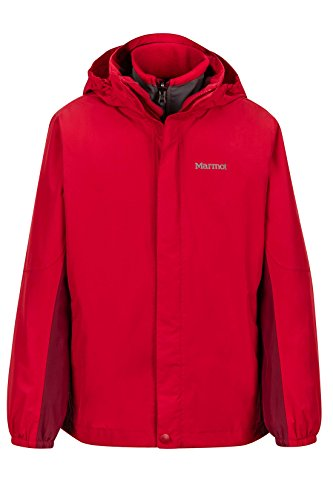 Marmot Northshore Boys' Waterproof Hooded Rain Jacket with Removable Fleece Liner, Team Red/Brick, - Nylon Ripstop Shell