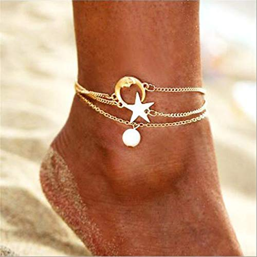 Edary Layered Moon Ankle Bracelet Gold or Silver Anklets Chain with Star and Pearl for Women and Girls ()