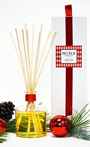 MINX Fragrances Sale! Holiday Cheer Essential Oil Reed Diffuser Gift Set Red Currant, Evergreen, Balsam Fir & Juniper Notes | Festive Christmas Fragrance | Decorative Air Freshener by MINX Fragrances