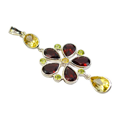 Multi Gemstone Pendant (Crystal Crafts India Multi Gemstone .925 Sterling Silver Pendant For)