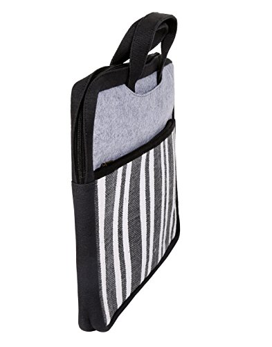 Bella Laptop cotone a righe Bag Black stampato da Rajrang