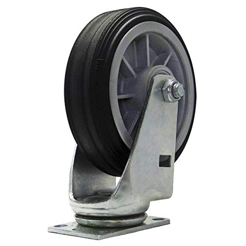 Snap-Loc Caster 6 Inch All-Terrain Swivel 375 Lb Easy Rolling Solid Rubber 6 Inch Swivel Caster With Standard Size 2-3//8 Inch X 3-5//8 Inch Slotted Plate SLAC6ATS
