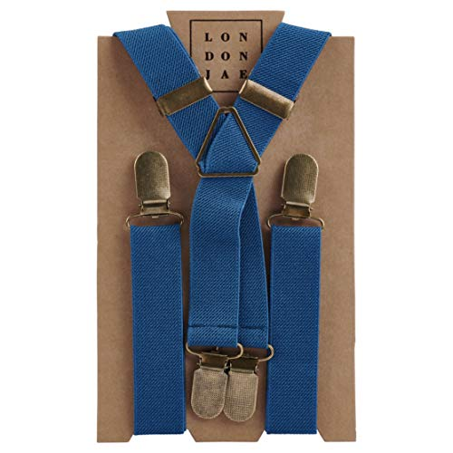Suspenders for Men and Boys - Wedding Outfits and Accessories, Various Colors with Brass Clips - By London Jae Apparel (Air Force Blue, Teen)