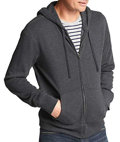 (GAP Mens 848476 Soft Fleece Full Zip Hoodie Sweater Dark Charcoal Heather Grey (XX-Large))