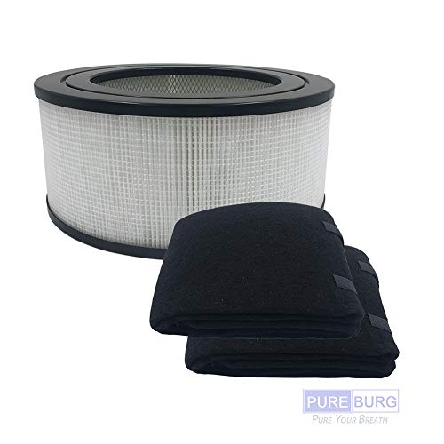 Pureburg Replacement HEPA Filter and 2 Wrapping Carbon pre-Filters for Honeywell 21500 21600 fit 8330c 11500 (EV-15) 11502 11520 11525 11526 17200 17210 18150 18155 32182 50150 51500 61500