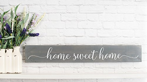 Gray Home Sweet Home Wood Home Wall Décor Sign – Farmhouse Wood Sign (Plaque Sweet)