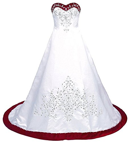 (Victoria Prom Women's Court Train Embroidered Satin Wedding Dress Bride Gown White&red us24w)