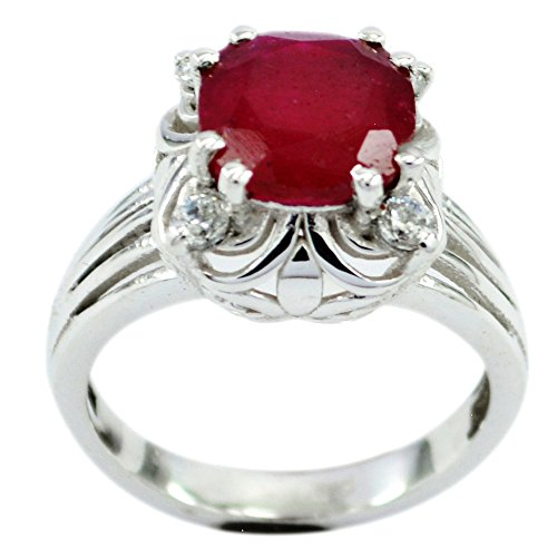 55Carat Genuine Indian Ruby Sterling Silver Ring for Women Prong Cut Astrological Size 5,6,7,8,9,1,11,12