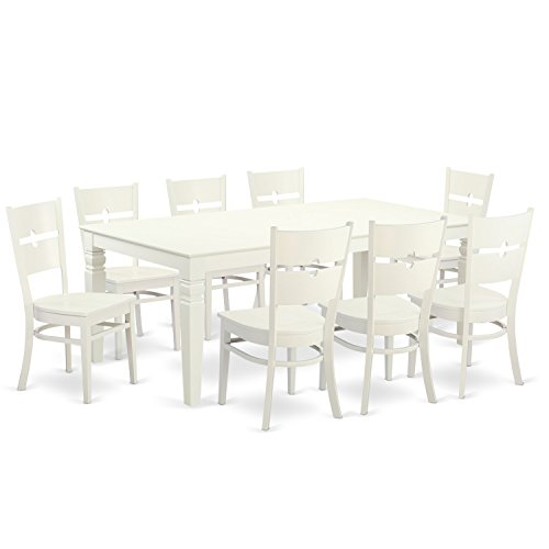 East West Furniture LGRO9-LWH-W 9 PC Table Set with One Logan Table & Eight Dining Chairs in Linen White Finish