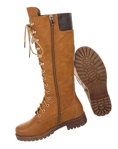 Damen Schuhe Stiefel Used Optik Schnürer Boots Camel