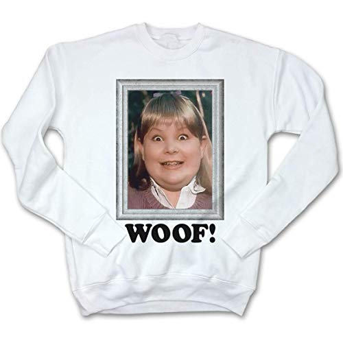 Fluffy Crate Woof! Ugly Christmas Sweatshirt | Holiday Movie Apparel | Buzz's Girlfriend Sweater -