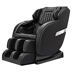 Real Relax Massage Chair Recliner with Rocking Function,Robotic S Track,Zero Gravity Full Body Massage and Bluetooth Audio Play, Black