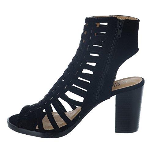 CORE COLLECTION Womens Ladies Block HIGH Heel Peeptoe Cutout Multi Strap Sandals Shoes Size 3-8 Black Suede oYNKsJoiP