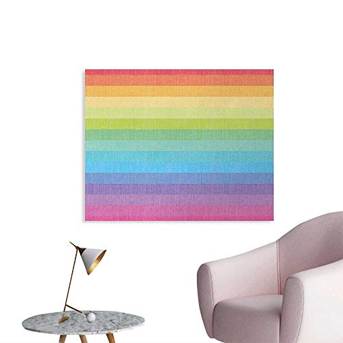 (Tudouhoho Vintage Rainbow Art Poster Vintage Abstract Lines with Rainbow Colors Grunge Old Fashioned Stripes Wall Paper Multicolor W36 xL24)