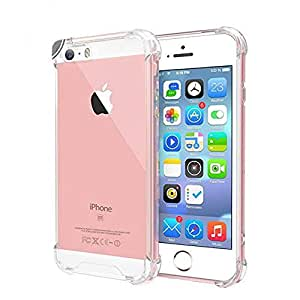 iPhone 5/5s/5SE Case, Crashproof Case Crystal Clear ultrathin TPU Protective(edges and corners),Shock Absorbing for iPhone 5/5s/5SE (clear)
