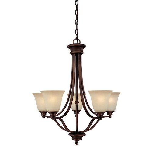 Capital Lighting 3415BB-287 Chandelier with Mist Scavo Glass Shades, Burnished Bronze - Mist Glass Scavo