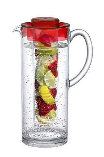 (Prodyne FI-60-R Trim Fruit Infusion Pitcher, 60 oz, Red)