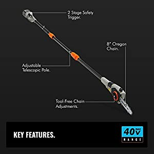 """VonHaus 40V Max 8"""" Cordless Pole Saw with Telescopic Pole - 4.0Ah Lithium-Ion Battery and Charger Included"""