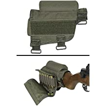 Ultimate Arms Gear Rifle Ammo Round Shot Shell Cartridge Hunting Stock Buttstock Cheek Rest Carrier Case Holder Fits .308 300 Winmag Ruger Model M77 Mini 14 Scout Ranch, OD Olive Drab Green
