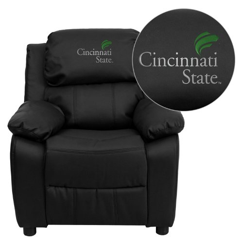 Flash Furniture Cincinnati State Technical and Community College Surge Embroidered Black Leather Kids Recliner with Storage - Nba Kids Recliner
