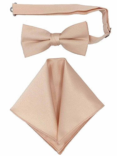 Spencer J's Men's Bowtie and Pocket Square Set Verity of Colors (Peach)