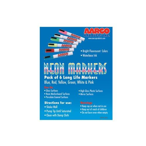 AARCO Products MFL-6 Dry Erase Neon Makers 6 Pack from AARCO PRODUCTS, INC.