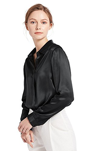 LilySilk Women's 100 Silk Blouse Long Sleeve Lady Shirt 22 Momme Charmeuse Silk XL Black ()