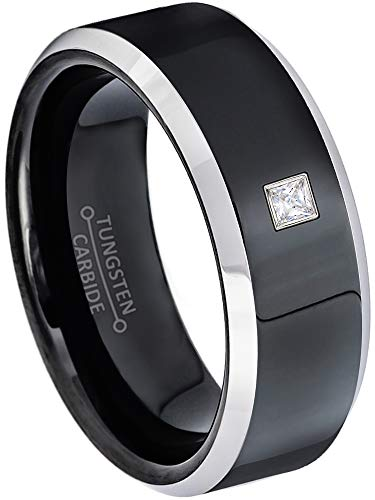 0.05ctw Solitaire Princess Cut Diamond Tungsten Ring - 8MM Polished 2-Tone Beveled Edge Tungsten Carbide Wedding Band - April Birthstone Ring - s11 ()