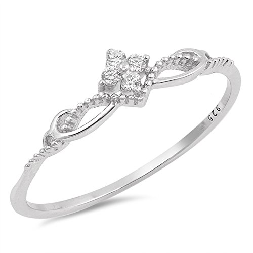 Infinity Flower (White CZ Flower Infinity Knot Swirl Ring New 925 Sterling Silver Band Size 4)