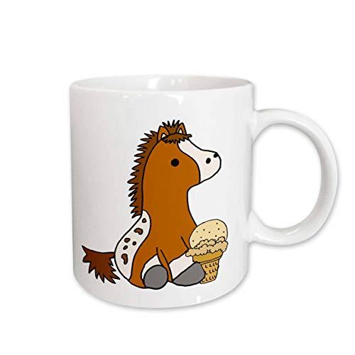 Appaloosa Pony - 3dRose All Smiles Art Animals - Cute Funny Baby Appaloosa Pony Horse eating Ice Cream Cone - 11oz Mug (mug_288197_1)