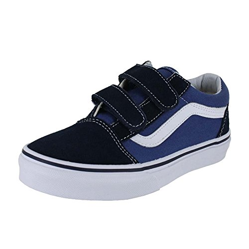 Vans Kids Old Skool V Navy/True White Skate Shoe 2 Kids US