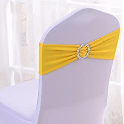 Gold Fortune 50PCS Stretch Wedding Chair Bands With Buckle Slider Sashes Bow Decorations 25 Colors (Bright Yellow)
