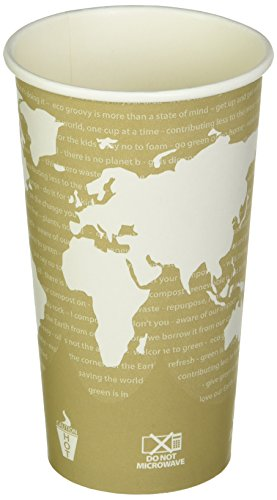 Eco-Products ECOEPBHC20WAPK World Art Hot Beverage Cups, PLA Lining, Leak Proof, Natural Plastic (Pack of 50) - Eco Products Hot Cup