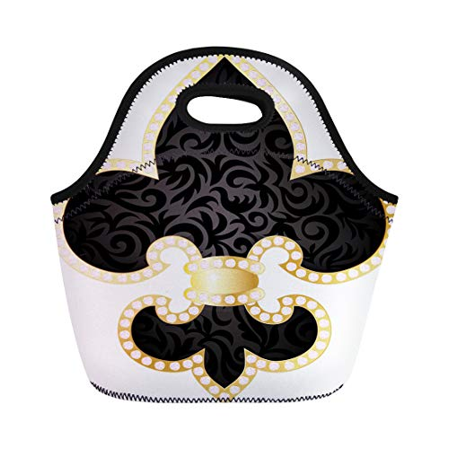 Semtomn Neoprene Lunch Tote Bag Pattern Fleur De Lis Fleurdelis Royal French Lily Gothic Reusable Cooler Bags Insulated Thermal Picnic Handbag for Travel,School,Outdoors,Work