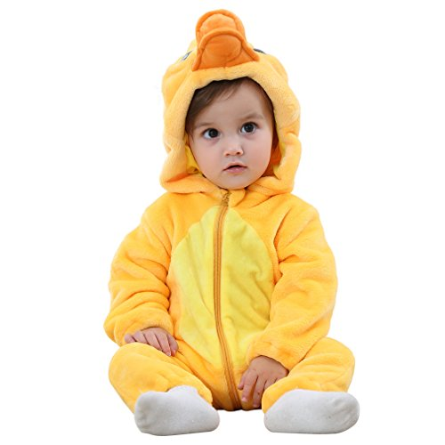 MICHLEY Unisex Baby Winter Hooded Romper Flannel Panda Style Cosplay Clothes ,70cm-(2-5months),Duck -
