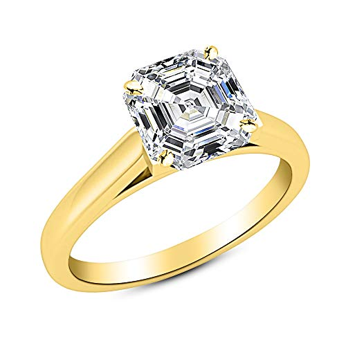 0.75 3/4 Ct GIA Certified Asscher Cut Cathedral Solitaire Diamond Engagement Ring 14K Yellow Gold (F Color VVS2 Clarity)